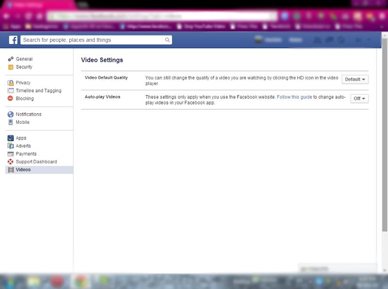 Facebook එකේ Videos autoplay වෙන එක නවත්තමු.