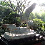 beautiful bird statue at ueno zoo in Ueno, Tokyo, Japan
