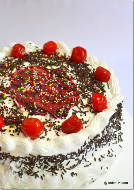 Singapore Easy black forest cake recipe with cream frosting