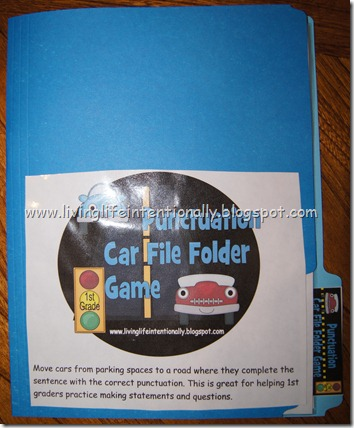 {free} punctuation file folder game for 1st grade homeschoolers - language arts