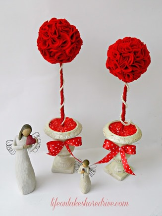 felt topiary wiffle ball valentines day