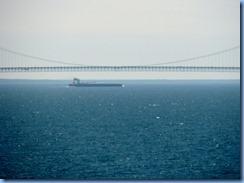 3433 Michigan Mackinac Island -  view of Mackinac Bridge and freighter from Grand Hotel