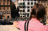 Shelley looking out from the Spanish steps