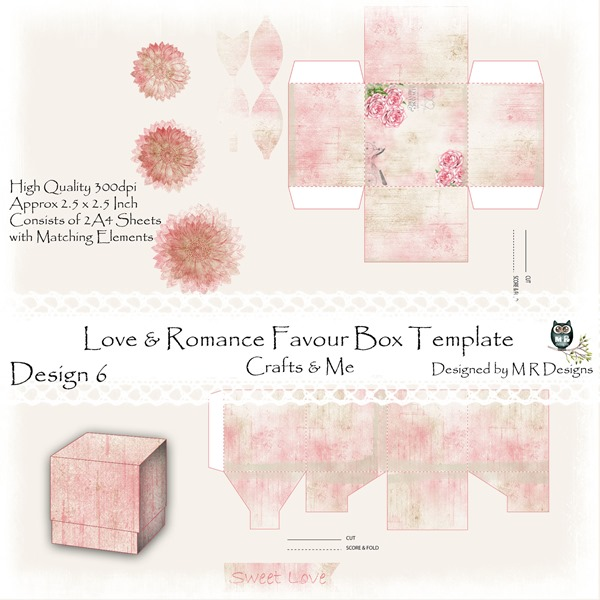 Love & Romance Favour Box Design 6 Front Sheet