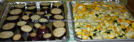 Roasting Vegetables - eggplant and squash