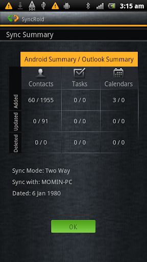 SyncRoid - Outlook Sync - screenshot