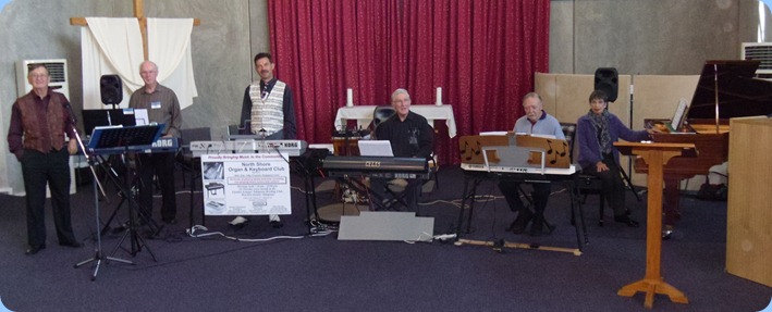 The Team preparing for the Concert. Left to right: Len Hancy; Peter Brophy; Peter Littlejohn; Gordon Sutherland; Colin Crann; Colleen Kerr.