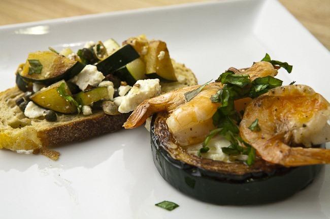 Zucchini Bruschetta Zucchini Rings and Shrimp Zucchini Saffron Puree