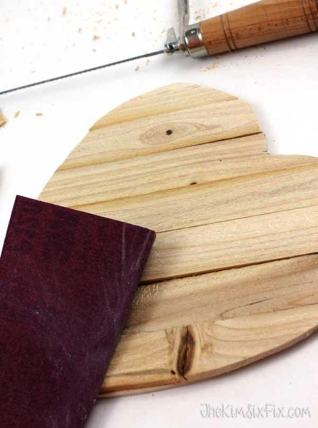 Sanding wood shim heart