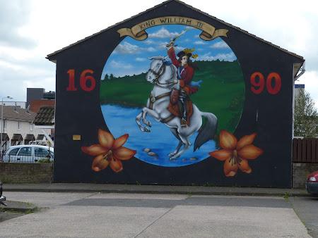Imagini Irlanda de Nord: pictura cu murala cu Regele William III in Belfast
