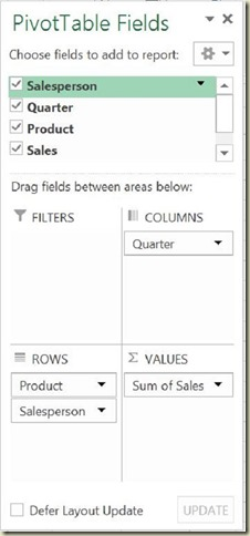 Pivot Tables in Excel - 3rd Pivot Table Field Arrangement