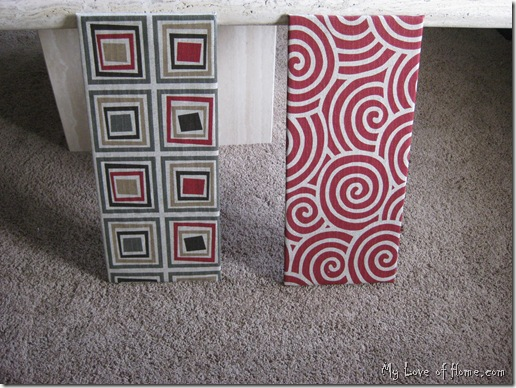 DIY fabric wall art red