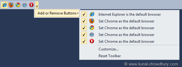 Browser Choser Toolbar added to Visual Studio IDE