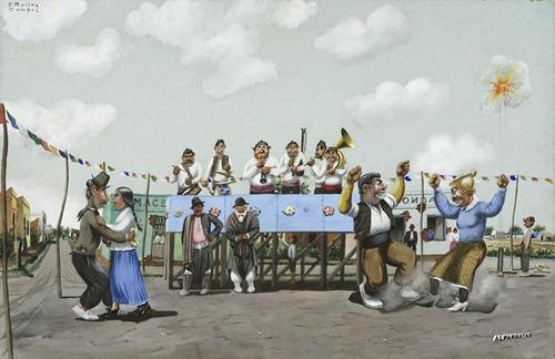 Va cayendo gente al baile by F. Molina Campos