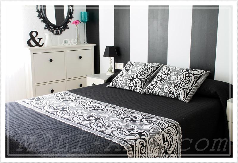 decoracion-dormitorio-pared-rayas-mantas-mora-colcha-dormitorio