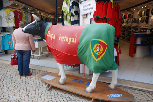 Plastic cow with Portugese Flag