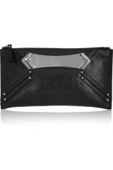 Karl Textured-leather clutch