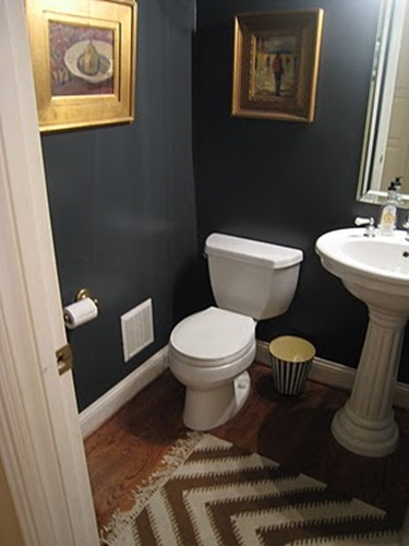 Mysterious by Benjamin Moore - dark blue powder room