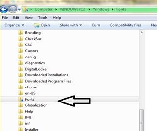 ติดตั้ง fonts ใช้งานใน windows 7