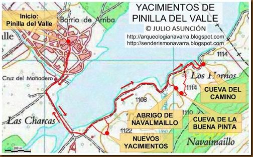 Mapa yacimientos Pinilla del Valle