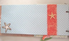 Beach journal long envelope front blue polka dot with orange ribbon starfish