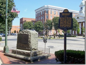 Confederate Conference marker next to monument on Burning of Chamberburg at town square Chambersburg, PA