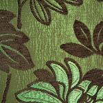 Tkanina obiciowa z efektem metalicznym w kwiaty. Zielona.