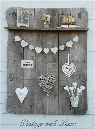 Pallet Wood Shelf with Valentines Decoration