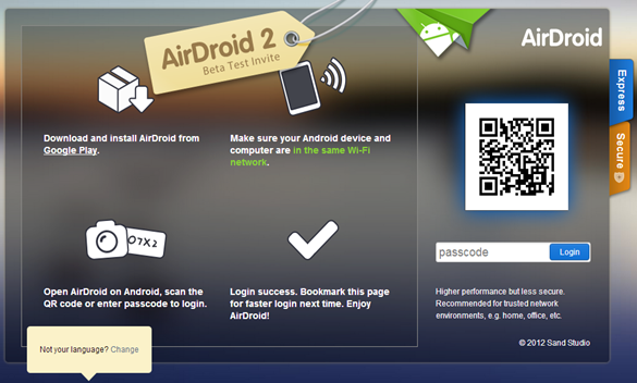airdroid website opened in browser