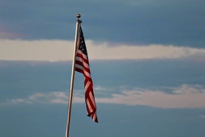 Flag at sunset