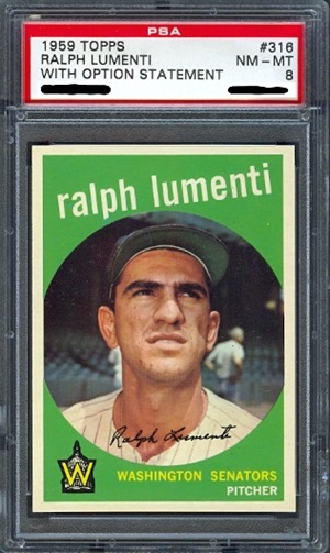 1959 Topps 316A ralph lumenti with option statement front