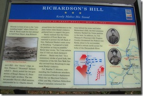 Richardson's Hill Civil War Trails marker located at the top of the hill