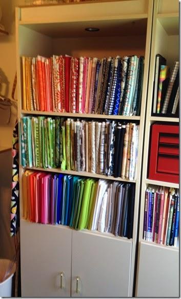 fabric in bookcase