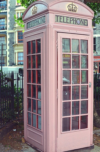 pink phonebooth via two blue birds