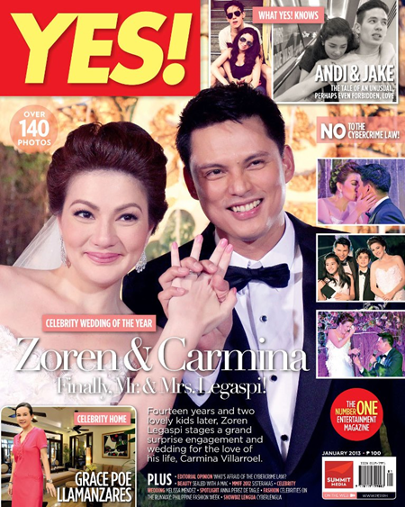 Carmina Villaroel and Zoren Legaspi on Yes! Jan 2013 cover