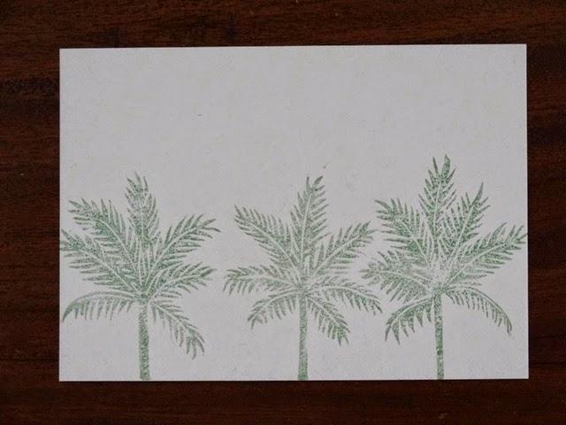 Palmtrees blanc linogravure HeleneB