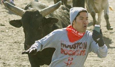 Selfie inseguito da un toro