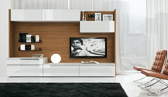 Mueble de TV de madera y blanco