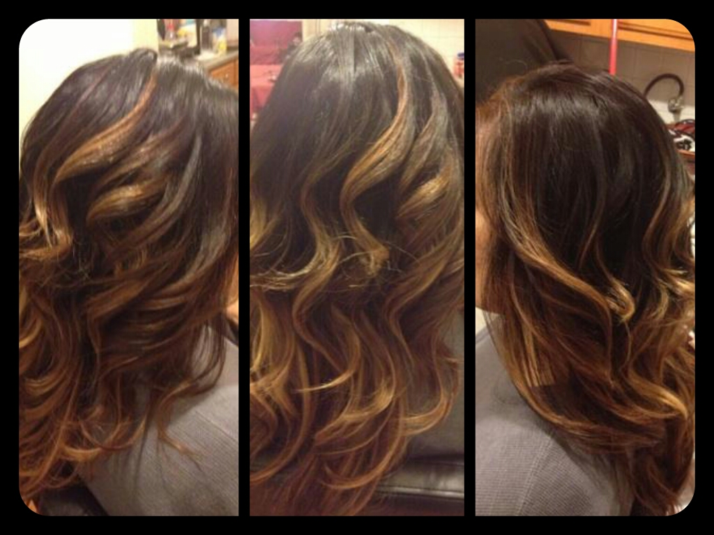 ... Beautiful Hair..: Dark brown hair color with Copper and Blonde Ombre