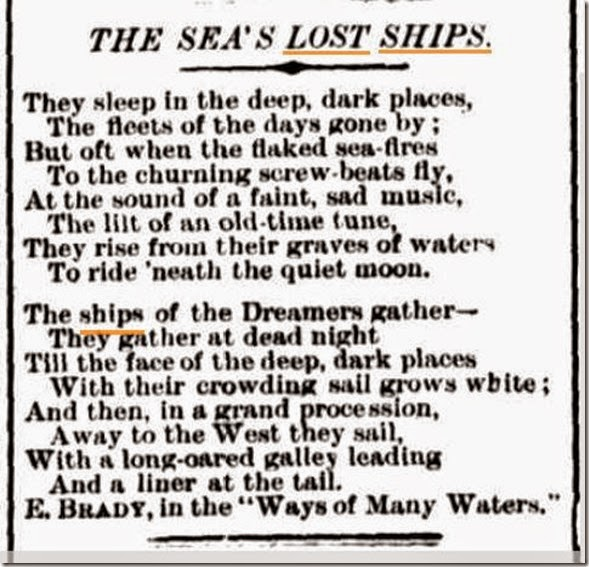 poem about shipd lost 1899