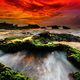Day break by Raung Binaia - Landscapes Beaches ( bali, green, sunset, rocks )