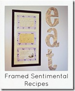 framed sentimental recipes