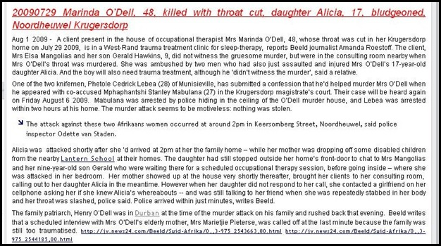 ODELL NOORDHEUWEL KRUGERSDORP 20090727 MARINDA O_DELL THROAT CUT DAUGHTER ALICIA 17 stranged BLUDGEONED survives