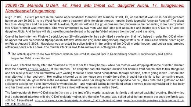 ODELL NOORDHEUWEL KRUGERSDORP 20090727 MARINDA O_DELL THROAT CUT DAUGHTER ALICIA 17 stranged BLUDGEONED survives