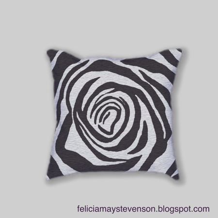 Black and gray rose cushion by felicianation on store envy
