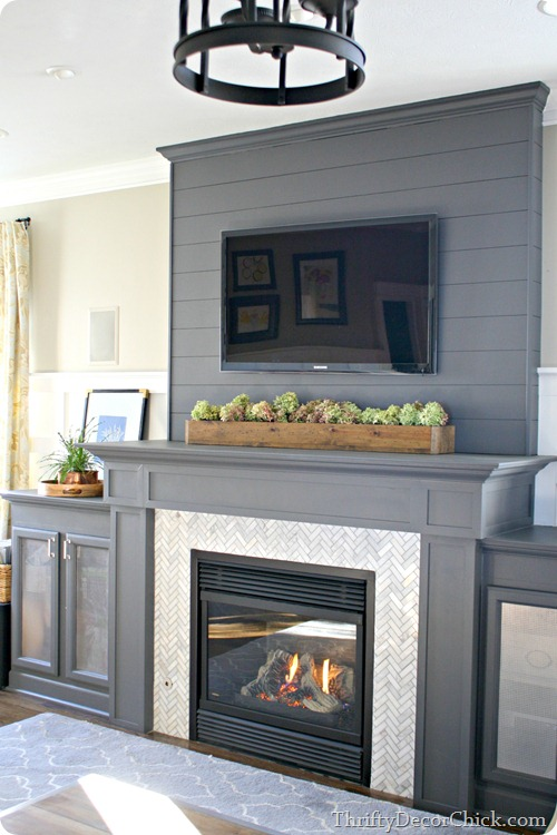 gray fireplace marble surround