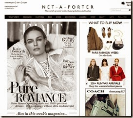 netaporter.com home page on PC