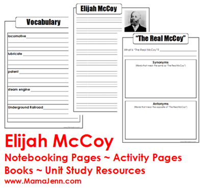 Elijah McCoy Notebooking Pages Printables