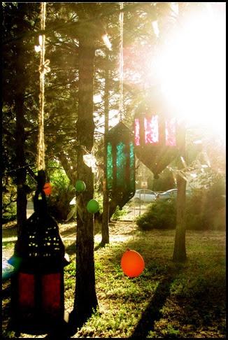 lanterns sunset