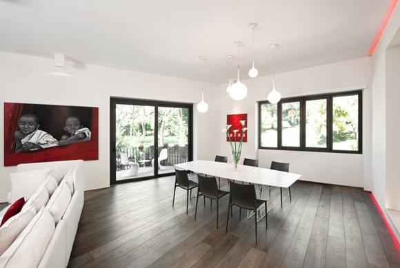 sala comedor abierto en rojo y blanco